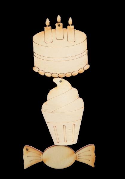 Figurine din lemn - Pachet mixt dulciuri 6 cm [0]