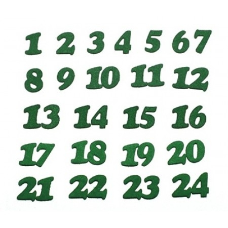 Figurine din fetru - cifre verzi adevent 1-24 0