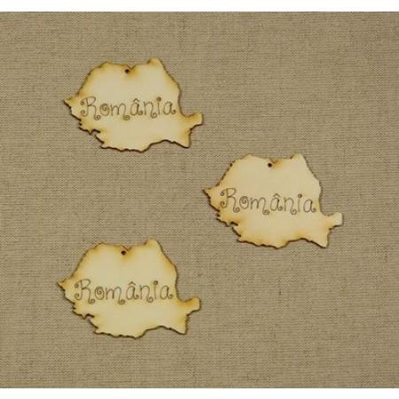 Forma din lemn: harta Romania 8 cm 1