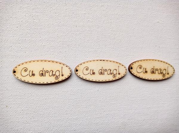Forme din lemn. Medalion CU DRAG!, set 4 buc 1