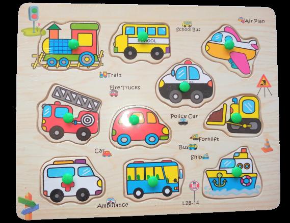 Puzzle mijloace de transport - jucarie lemn 0