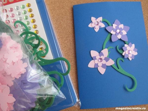 Set creativ 20 felicitari albastre cu flori 0