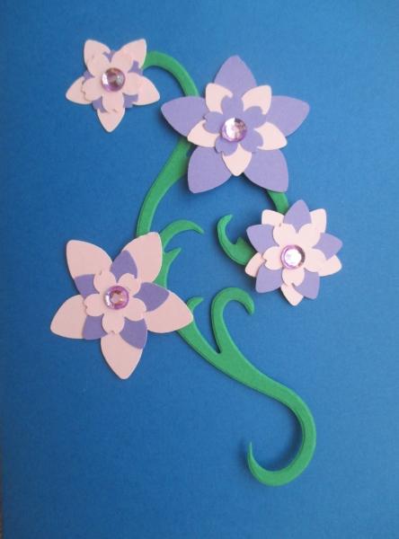 Set creativ 20 felicitari albastre cu flori 1