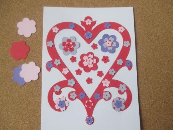 Set confecționare 20 felicitari Inima cu flori 0