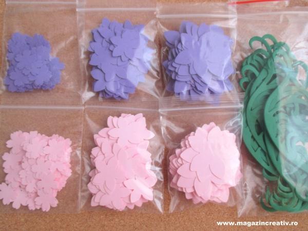 Set creativ 20 felicitari albastre cu flori 2