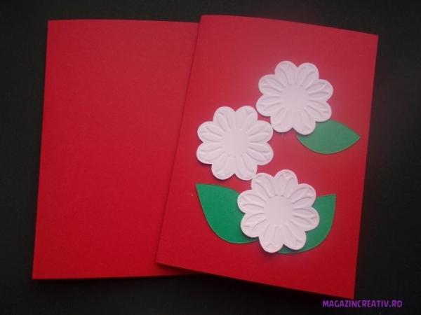 Set confecționare 25 felicitări roșii cu flori 1