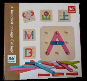 Joc lemn Formeaza litere si cifre0