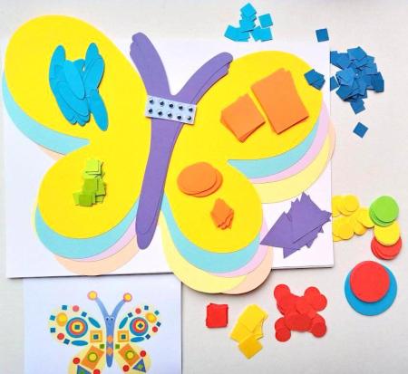 Fluture decorat cu figuri geometrice - set creativ carton [0]