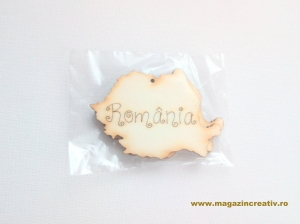Forma din lemn: harta Romania 8 cm0