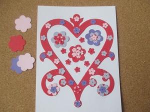 Set confecționare 20 felicitări inimă cu flori0