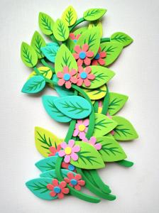 Set decorativ crengute cu flori1