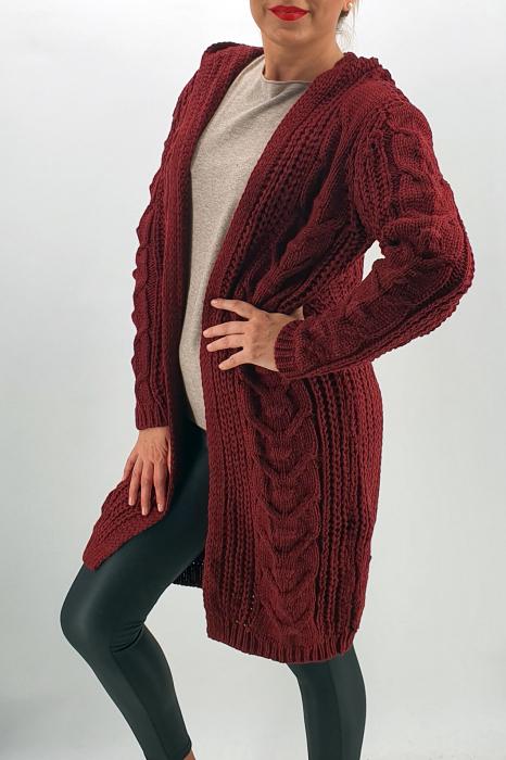 Cardigan din tricot cu gluga 3 1