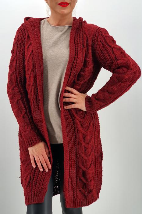 Cardigan din tricot cu gluga 3 0