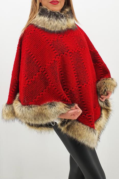 Poncho din lana cu blana 7 1