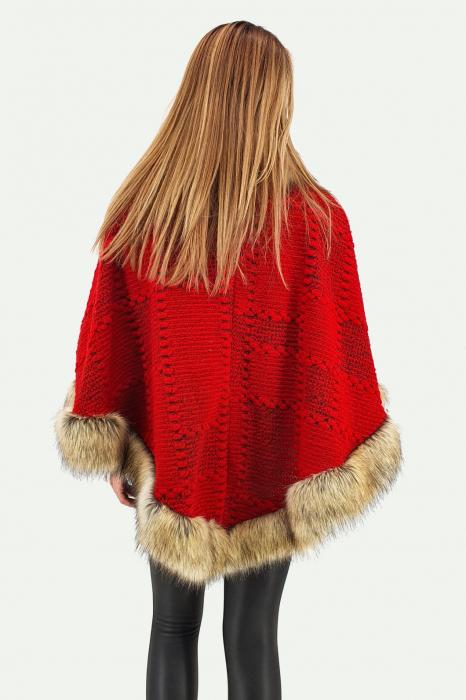 Poncho din lana cu blana 7 2