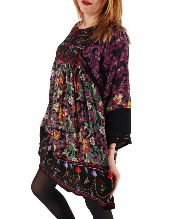 Rochie/Bluza brodata cu imprimeu floral Oana 3 1