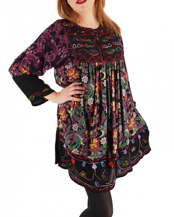 Rochie/Bluza brodata cu imprimeu floral Oana 3 3