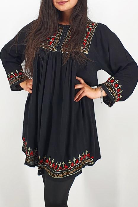 Rochie/Bluza brodata cu imprimeu floral Oana 7 2