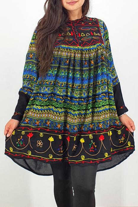 Rochie/Bluza brodata cu imprimeu floral Oana 10 2