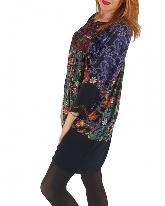 Rochie/Bluza brodata cu imprimeu floral Oana 2