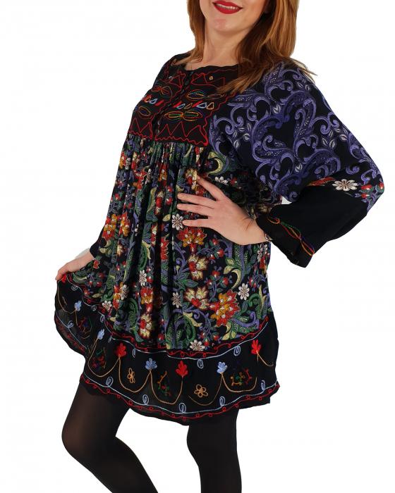 Rochie/Bluza brodata cu imprimeu floral Oana 1