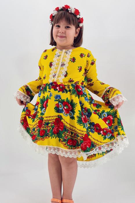 Rochita cu tematica florala de la 10 ani la 14 ani - Galben 0