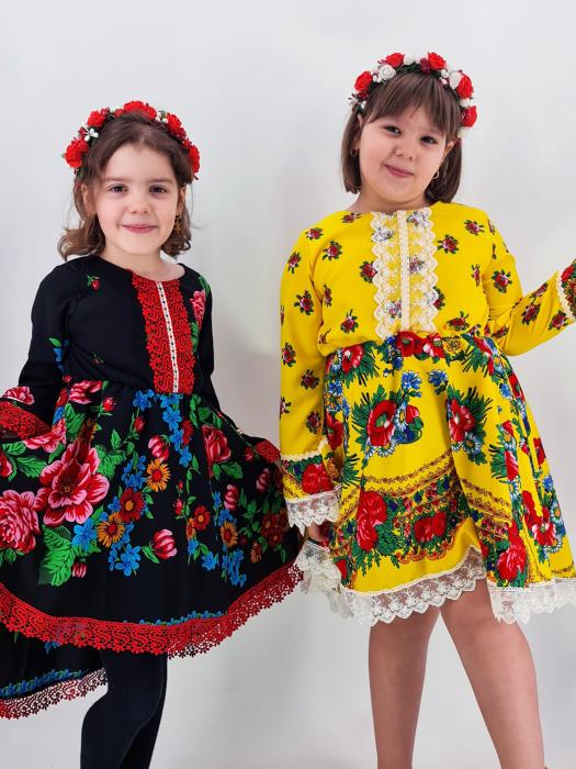 Rochita cu tematica florala de la 10 ani la 14 ani - Galben 3