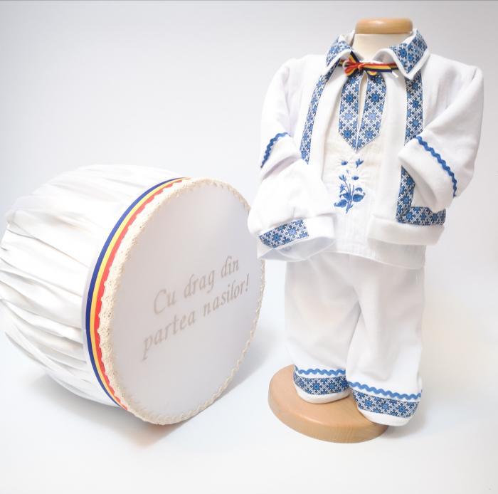 Set Traditional Botez - Costumas baiat/Cutie trusou albastru 0