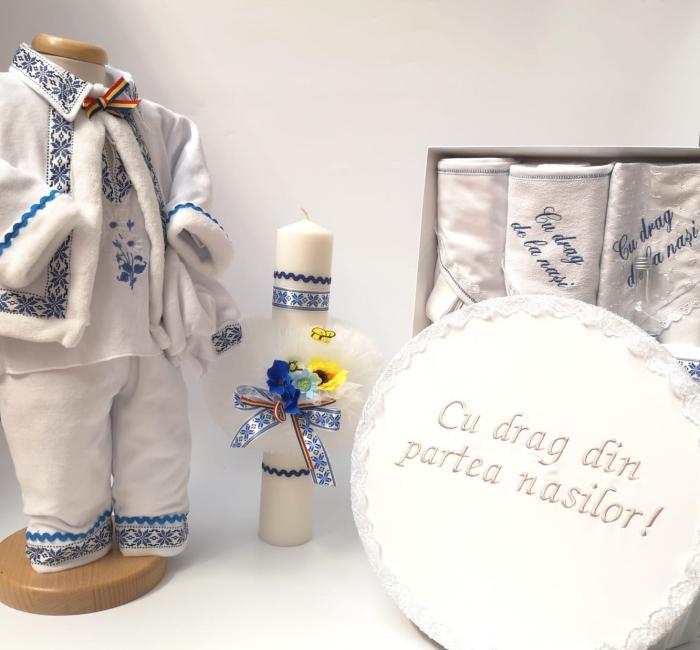 Set Traditional Botez Baiat - Costumas + Trusou + Cutie + Lumanare 2 0