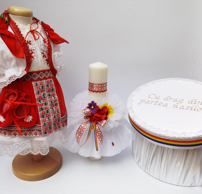 Set Traditional Botez - Costumas fetita/Cutie pentru trusou/Lumanare 4 0