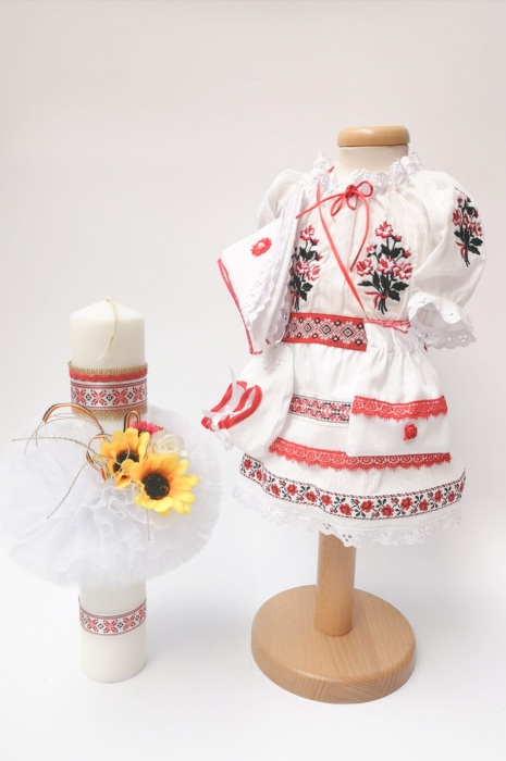 Set Traditional Botez - Costumas fetita/Lumanare 3 0
