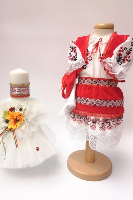Set Traditional Botez - Costumas fetita/Lumanare 4 0
