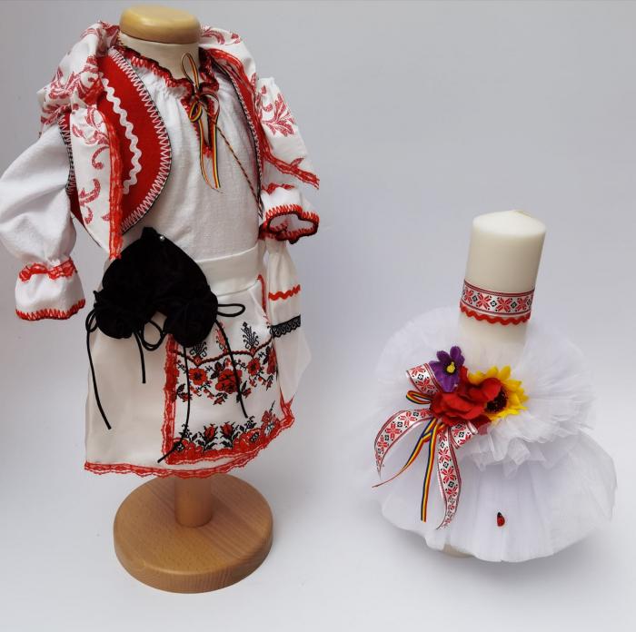Set Traditional Botez - Costumas fetita/Lumanare 6 0