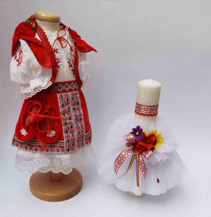 Set Traditional Botez - Costumas fetita/Lumanare 7 0