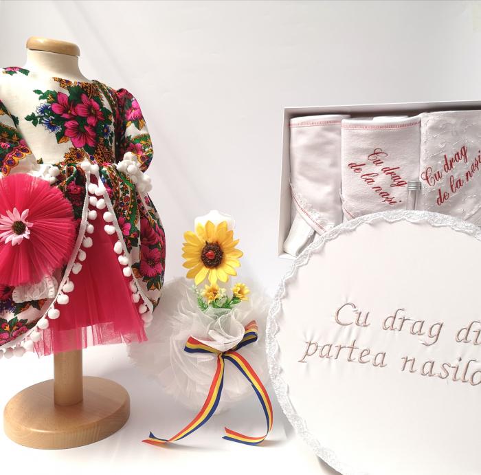 Set Traditional Botez - Costumas fetita/Trusou/Cutie pentru trusou/Lumanare TUL 0