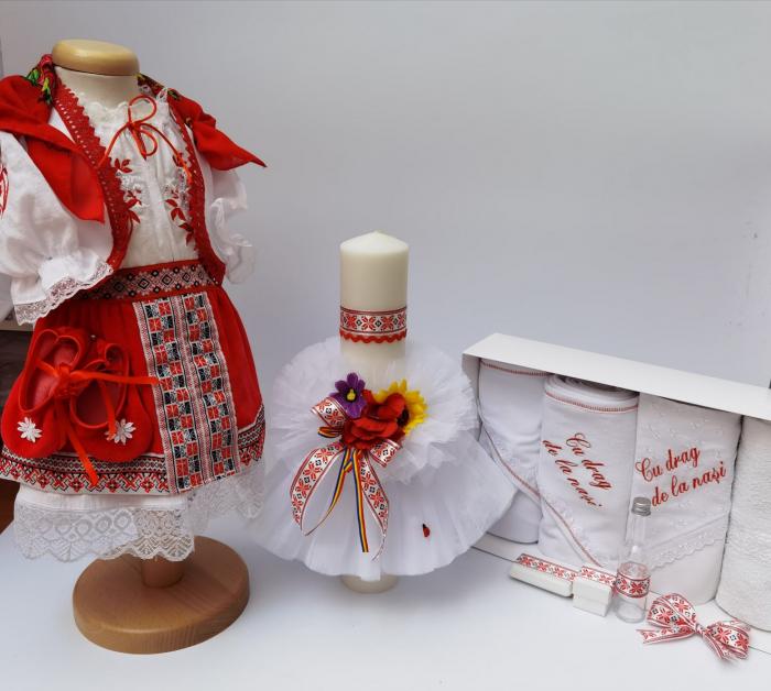 Set Traditional Botez - Costumas fetita/Trusou/Lumanare 7 0