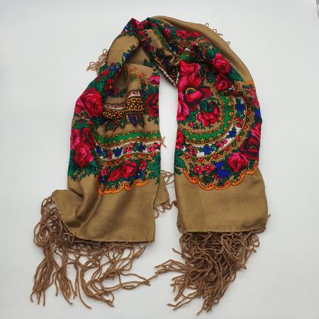 Batic etno mare - Imprimeu floral panza Albastra11