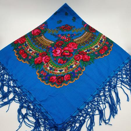 Batic etno mare - Imprimeu floral panza Albastra0