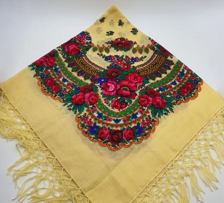 Batic etno mare - Imprimeu floral panza Albastra14