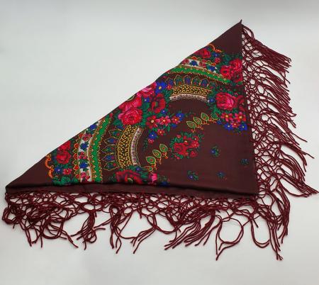 Batic etno mare - Imprimeu floral panza Albastra9