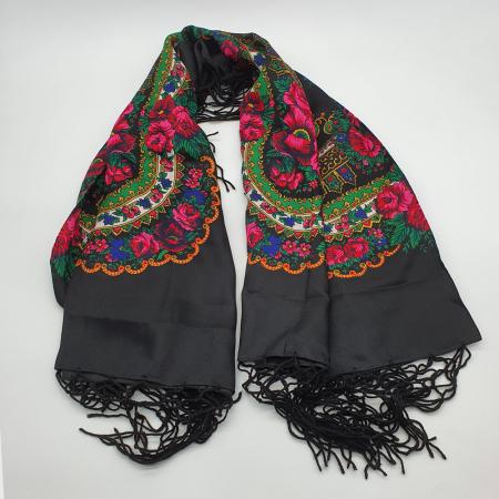 Batic etno mare - Imprimeu floral panza Albastra3