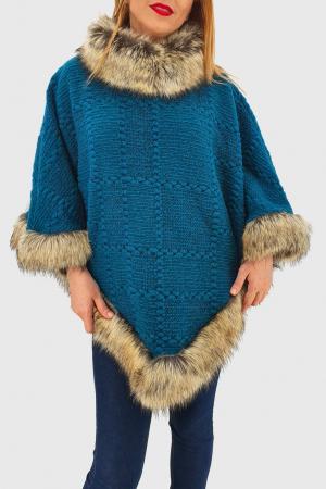 Poncho din lana cu blana1
