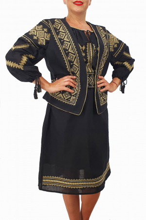 Costum Traditional - Vesta / Rochie / Brau cu model traditional3