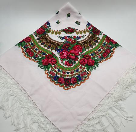 Batic etno mare - Imprimeu floral panza Albastra4