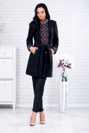 Palton negru cu motive traditionale Viorela2