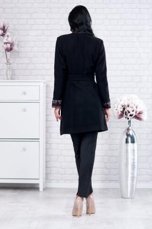 Palton negru cu motive traditionale Viorela3