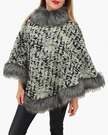 Poncho din lana cu blana 110
