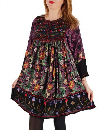 Rochie/Bluza brodata cu imprimeu floral Oana 30