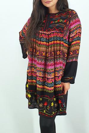 Rochie/Bluza brodata cu imprimeu floral Oana 92