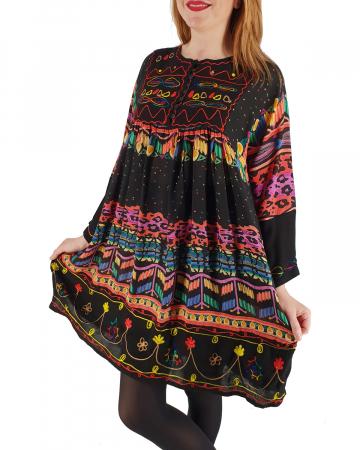 Rochie/Bluza brodata cu imprimeu floral Oana 21
